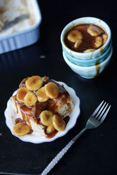 bananas foster croissant bread pudding.