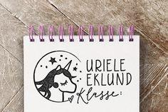 Namen & Monogramme - Schul-Stempel klein mit Einhorn - 5,0 x 2,5 cm - ein Designerstück von Merry-and-Bright bei DaWanda