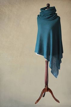 knit poncho women poncho teal poncho wrap scarf by KnittedGallery