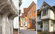 ABOVE (left-right): The jetty or overhang allows an upper floor to jut out and provide more room inside for residents; Oak timbers of Little Hall have gently silvered over the past 600 years; The magnificent entrance to the 1530 Guildhall in Lavenham Clay Cross, Uk Holidays, Medieval Town, 15th Century, Middle Ages, Tudor, Old Photos, Entrance, Explore
