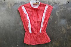 Soviet Women Top Vintage Cotton 80s Shirt White Red by SkySecrets
