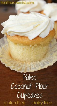 Vanilla Paleo Cupcakes Recipe (Gluten-free and Dairy-free). Soft and fluffy cupcakes! Made with just coconut flour! Vanilla Paleo Cupcakes Recipe (Gluten-free and Dairy-free). Soft and fluffy cupcakes! Made with just coconut flour! Paleo Cupcakes, Gluten Free Cupcake Recipe, Dairy Free Recipes, Coconut Cupcakes, Gluten Free Coconut Cake, Dairy Free Cupcakes, Baking With Coconut Flour, Paleo Cake Recipes, Coconut Flour Cakes
