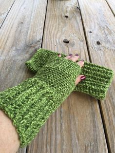 Handmade Crocheted Texting Gloves in Green Tweed, Fingerless Gloves, Crochet Arm Warmers, Wrist Warmers, Boho Texting Gloves, Boho Fashion by TheHookster on Etsy