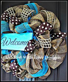 Summer Wreath Wreath Deco Mesh Wreath Deco by RedWithEnvyDesigns Etsy Shop  #trendytree #burlap