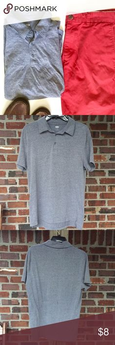 """🆕 Classic Grey Men's Polo Every man needs a grey polo in his wardrobe. This one is 100% soft cotton and in great used condition. Pair with the red flat front shorts listed in my closet for a complete look. Approximate measurements: Neck: 15-15.5"""" Sleeve: 33.5-34"""" Chest: 40-42""""  ✨I discount bundles.✨ Old Navy Shirts Polos"""