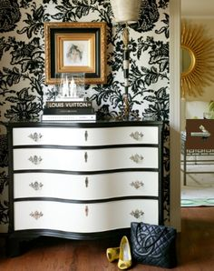 You can do this...paint dresser and wallpaper or stencil the wall...classic