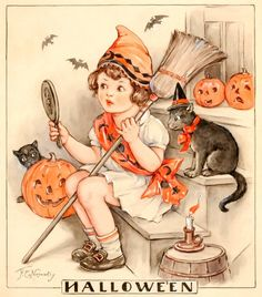 Halloween illustration with cats and pumpkins Retro Halloween, Halloween Tags, Halloween Chat Noir, Happy Halloween, Vintage Halloween Images, Halloween Prints, Halloween Pictures, Vintage Holiday, Holidays Halloween