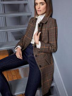 Manteau Car Coat femme en Prince de Galles, Femme - Vetement et déco  Cyrillus 29446a1850e