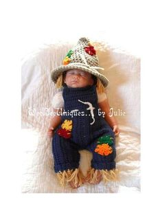 Thanksgiving costume baby scarecrow hat and overalls Fall