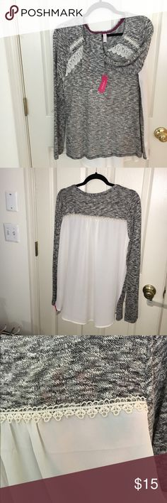 SALE--Xhilaration top Cute sheer top- long sleeves. Sweater is very light weight and sheer. Can be worn summer nights. Front is gray sheer sweater back is cream sheer. Should be worn with cami, unless you prefer your goodies to be seen :) NWT Tops Blouses