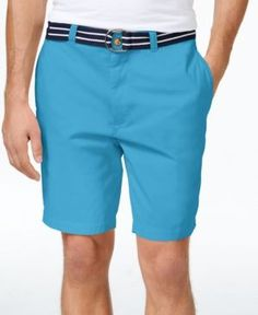 Club Room Men's Estate Flat-Front Shorts with Belt, Only at Macy's  - Blue 30