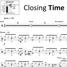 """The full drum sheet music for """"Closing Time"""" by Semisonic from the album Feeling Strangely Fine"""