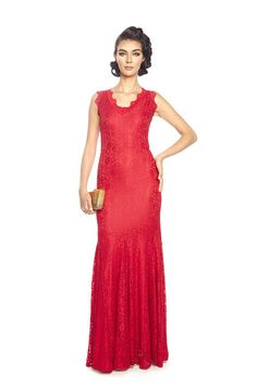 Posh Couture French Lace V Neck Gown