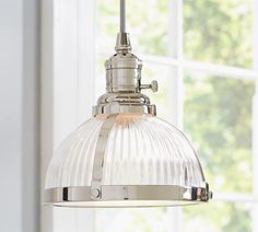 PB Classic Pendant - Ribbed Glass | Pottery Barn. Over the sink. #kitchen #lighting
