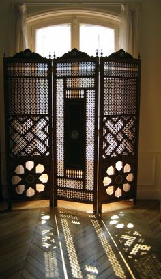 Image detail for -. study, the sunlight peeking through the Egyptian mashrabiya screen Moroccan Design, Moroccan Decor, Moroccan Style, Islamic Architecture, Interior Architecture, Decorating Your Home, Interior Decorating, Room Divider Screen, Room Dividers
