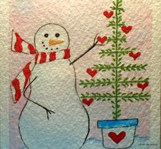 Your place to buy and sell all things handmade Watercolor Christmas Cards, Watercolor And Ink, Watercolour Painting, Watercolors, Christmas Snowman, Winter Christmas, Christmas Crafts, All Things Christmas, Christmas Themes