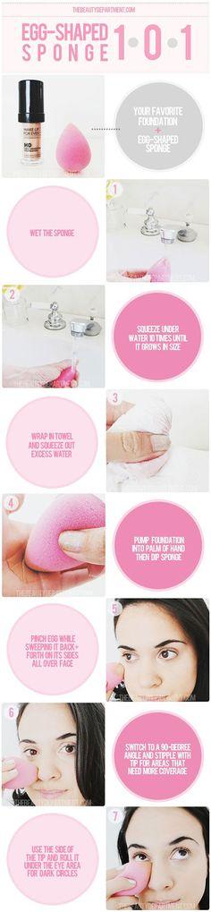 the proper way to use a beauty blender, makeup sponge