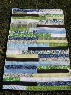 Blue and green strip quilt