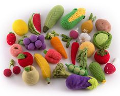 26 Pieces - Crochet Fruit and Vegetables, teether teeth, eco-friendly toys, play food kitchen - MiniMom's -
