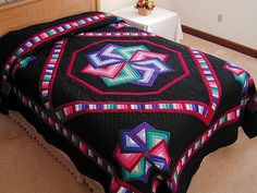 Star Spin Quilt -- outstanding smartly made Amish Quilts from Lancaster (hs118)