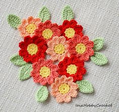 Nine Crochet daisies embellishments and nine crochet leaves. Made from a lovely soft 100% cotton crochet thread in shade of orange with yellow centre. Leaves in light green. Each flower is approximately 3 cm in diameter (11/4). Each leaf is approximately 2 cm long (3/4) Great