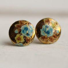 Blue Rose Earrings ... Floral Vintage by SilkPurseSowsEar on Etsy