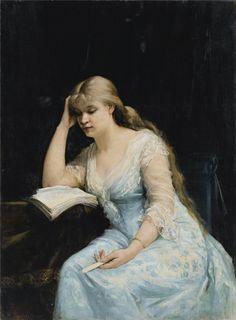 Portrait of a Young Woman Reading. Marie Bashkirtseff (Russian, 1858-1884).