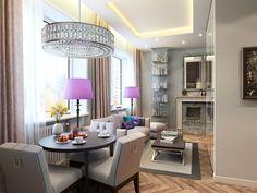 Dos decoraciones para apartamentos de 40 metros: comedor clásico