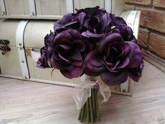 AUBERGINE PLUM PURPLE ROSES POSY BOUQUET Plum Purple, Purple Roses, Purple Wedding, Wedding Flowers, Crystal Bouquet, Wedding Inspiration, Wedding Ideas, Groom Attire, Autumn Wedding
