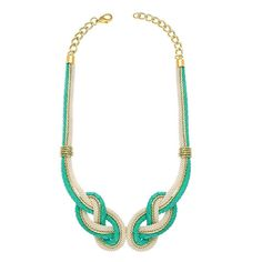 Under the Sea, Turquoise Gold Leather Handmade Necklace by Knotty Gal | Knotty Gal Accessories. I love this!!! So unique and supports a great cause!