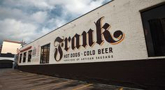 Exterior graphic mural for Frank Hot Dogs & Cold Beer in Austin, TX. Designed by Helms Workshop.