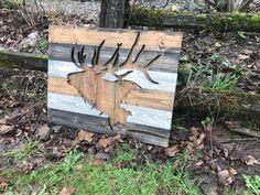 Rustic Elk Silhouette Wood Cut Out Wall Art by Bayocean Rustic Design
