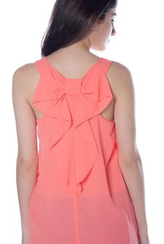 Chiffon Tank Top with Bow Detail Back