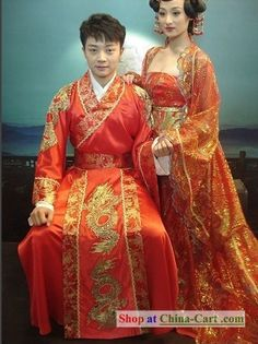 Chinese Traditional Dragon Wedding Dress Set for Bridegroom or for cosplay - these are so beautiful.