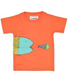 Coral kids T shirt in organic cotton with piranha fish. Playful organic cotton for kids by PIPI & PUPU kids(art)wear :)