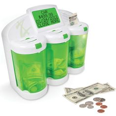 The Financial Acumen Piggy Bank by Hammacher Schlemmer. The bank has 3 individual chambers for different financial goals, and it can be programmed to track how close you are to reaching each goal. You can also set up notifications for when a deposit is due. And the chambers are locked in place and protected by a pin number. How cool!