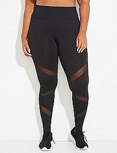 Wicking Active Legging with Stirrups & Mesh | Lane Bryant