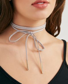 Faux Suede Choker Wrap Necklace With Gold Ends Faux Suede Choker Wrap Necklace With Gold Ends
