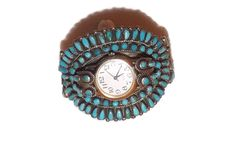 WOMAN'S CUFF WATCH, Turquoise, Navajo.  Sterling Silver Cluster Genuine Turquoise Cuff Watch, Navajo, Jewelry, 6-3/8 Inch.  Free Shipping by colorsofthesouthwest on Etsy
