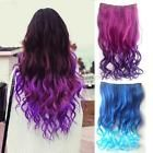 Multi Colors Long Curly Wavy Hair Full Head Clip in Synthetic Hair Extensions