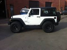 Image result for white 2 door jeep wrangler with black rims
