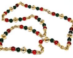 Vintage 1960s Luxurious Ruby Red & Emerald Green Glass Bead Gripoix Couture Style Necklace with gold stations rhinestone rondelle accents