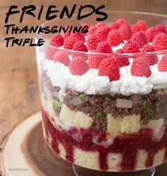 """Make the iconic FriendsThanksgiving trifle with a fake """"beef"""" layer made from coconut and chocolate. This tasty dessert is perfect for Thanksgiving and Friendsgiving!"""