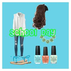 """""""School Day"""" by afashionfangirl230 ❤ liked on Polyvore featuring OPI, Frame Denim, BERRICLE and MIA"""