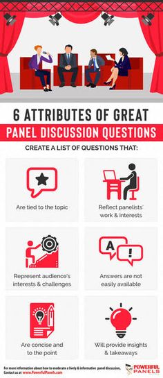 """A skilled panel moderator takes time to create an extensive """"shopping"""" list of good panel discussion questions. They recognize they will NOT use them all, but by curating their list of questions, they naturally know what questions to ask and when to ask them. List Of Questions, What If Questions, Infographics, Insight, Reflection, Community, Thoughts, Engagement, Engagements"""