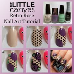 Purple, cream, black and green nail polish were used to create dotted manicure. All you need are nail art brushes and a dotting tool to DIY this easy step by step nail tutorial.