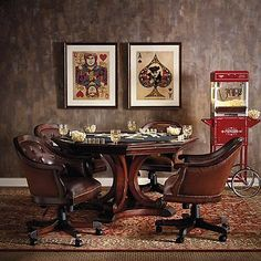 Large 'cards' posters on the wall. ....Edison Game Table and Set of Four Chairs