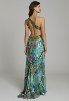 Prom Dresses - Metallic Chiffon Prom Dress with One Shoulder from Camille La Vie and Group USA