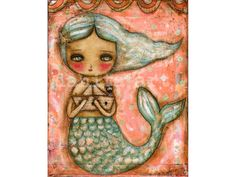 Another Great Catch - Giclee Reproduction Of Original Collage Painting By Danita Art (Paper Prints and ACEO Wood Mounted)