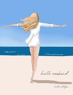 Bon Weekend, Hello Weekend, Hello Saturday, Hello March, Happy Weekend, Beach Illustration, I Love The Beach, Korean Art, Am Meer